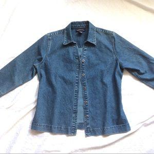 Blue Stretch Denim Jacket 3/4-Sleeves Sz8 $10